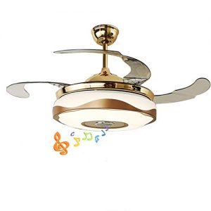 """Fandian 42'' Modern Ceiling Fans with Light Smart Bluetooth Music Player Chandelier 7 Colors Invisible Blades with Remote Control, Dimmable LED Kits Inlcuded (42"""" Modern)"""