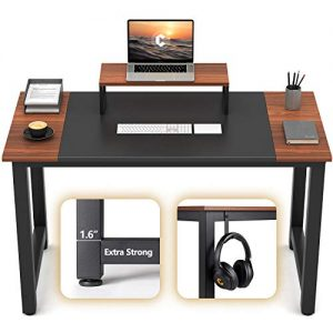 "CubiCubi Computer Office Small Desk 47"", Study Writing Table, Modern Simple Style PC Desk with Splice Board, Black and Espresso"