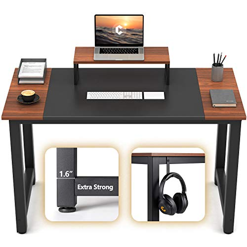 """CubiCubi Computer Office Small Desk 47"""", Study Writing Table, Modern Simple Style PC Desk with Splice Board, Black and Espresso"""