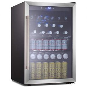 Beverage Refrigerator and Cooler - 4.5 Cu. Ft. Drink Fridge with Glass Door for Soda, Beer or Wine - Small Beverage Center with 4 Removable Shelves for Office/Man Cave/Basements/Home Bar