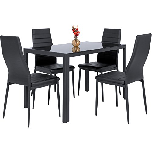 Best Choice Products 5-Piece Kitchen Dining Table Set w/Glass Top, 4 Faux Leather Chairs - Black