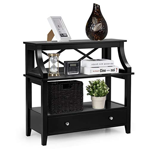 Giantex 3 Tier Console Table with a Large Drawer, Sofa Side Table with Storage Shelves, Entryway Hall Table Furniture, Display Rack Stand for Living Room Bedroom Study, Easy Assembly (Black)