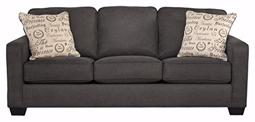 Signature Design by Ashley - Alenya Microfiber Upholstery Sofa w/ 2 Throw Pillows, Charcoal