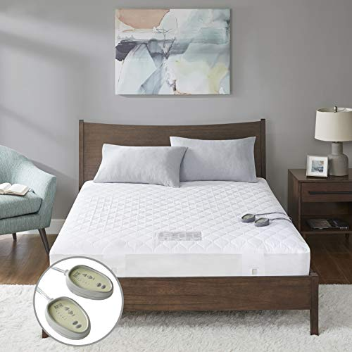 """MP2 Heated Mattress Pad King with 5 Heat Settings and 10 Hours Auto Shut Off Dual Controllers Fit up to 18"""" Mattress Electric Mattress Cover with Deep Pocket 78"""" x 80"""""""