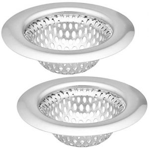 "2 Pack - 2.25"" Top / 1.25"" Basket, Rust Proof Stainless Steel Bathroom Sink, Lavatory, Slop and Utility Sink Hair Catcher Drain Strainer Hair"