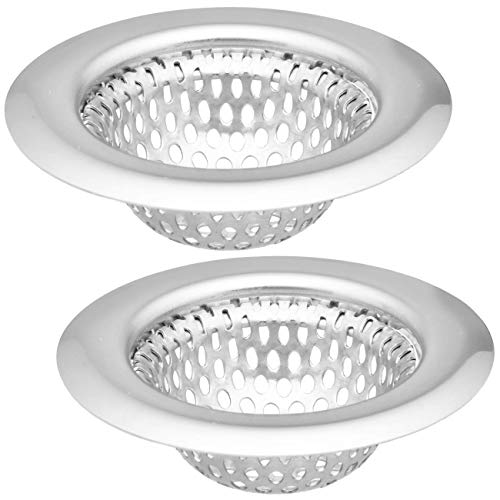 """2 Pack - 2.25"""" Top / 1.25"""" Basket, Rust Proof Stainless Steel Bathroom Sink, Lavatory, Slop and Utility Sink Hair Catcher Drain Strainer Hair"""