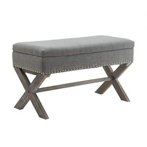 chairus Fabric Upholstered Storage Entryway Bench, Gray 36 inch Bedroom Bench Seat with X-Shaped Wood Legs for Living Room, Foyer or Hallway
