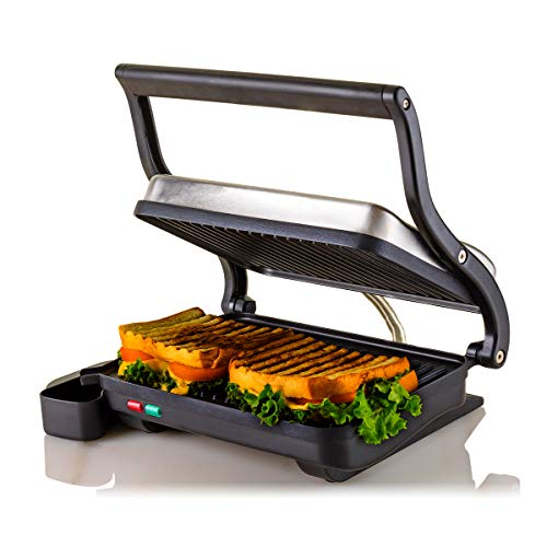OVENTE Electric Panini Press Grill Sandwich Maker 2 Slices with Double-Sided Non-Stick Coated Plate, Compact and Portable, 1000 Watts Thermostat Control, Nickel Brushed (GP0620BR)