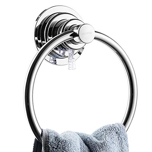 BOPai Drill Free Powerful Vacuum Suction Cup Towel Ring Shower Washcloth Hand Towel Round Holder