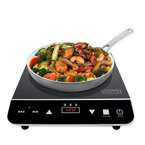 Cosmo Portable Electric Induction Cooktop with Rapid Heating, Sensor LED Display, Safety Lock, Energy Efficient Countertop Stove Single Burner, 1800-Watt, COS-YLIC1