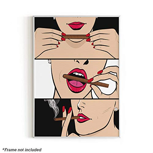 """Black Roller Smoker Wall Art Print by Haus and Hues   Pop Art Prints, Dorm Room Decor, Retro, Vintage Themed Home, Office, Apartment, Wall Decor   Unframed/Frameable Poster Wall Decoration   12"""" x 16"""""""