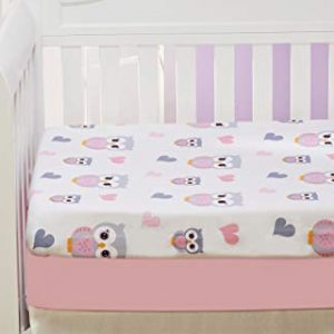 EVERYDAY KIDS 2 Pack Fitted Girls Crib Sheet, 100% Soft Microfiber, Breathable and Hypoallergenic Baby Sheet, Fits Standard Size Crib Mattress 28in x 52in, Nursery Sheet - Sweet Owls/Pink