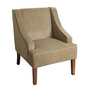 HomePop Velvet Swoop Arm Accent Chair, Tan