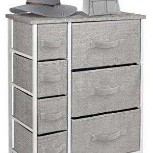 Sorbus Dresser with Drawers - Furniture Storage Tower Unit for Bedroom, Hallway, Closet, Office Organization - Steel Frame, Wood Top, Easy Pull Fabric Bins (Gray)