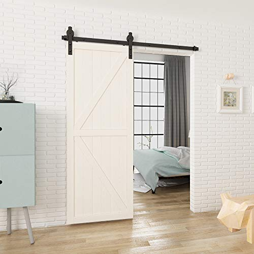 "HomLux 5ft Heavy Duty Sturdy Sliding Barn Door Hardware Kit HomLux 5ft Heavy Duty Sturdy Sliding Barn Door Hardware Kit, Single Door-Smoothly and Quietly, Easy to Install and Reusable - Fit 1 3/8-1 3/4"" Thickness & 30"" Wide Door Panel, Black(I Shape Hanger)."
