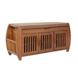 Bamboo Shoe rack & Shoe Bench & Shoe Cabinet Storage Benches, Entryway Storage Organizer, Hallway Bathroom Living Room Corridor and Garden,Detachable Cushion with Hidden storage compartment