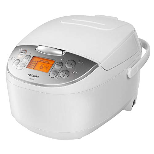 Toshiba TRCS01 Cooker 6 Cups Uncooked (3L) with Fuzzy Logic and One-Touch Cooking for Brown, White Rice, and Porridge