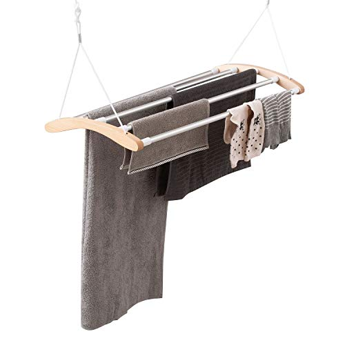 """INNOKA Extendable Ceiling Mounted Drying Rack, Luxury Birch Wood with 5 Strong Aluminum Bars [Space Saving] Clothes Laundry Dryer Hanger with Smart Pulley System, Extended up to 55"""", Maximum Load 9KG"""