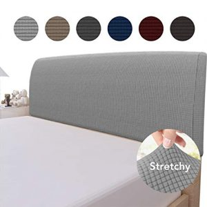 Easy-Going Stretch Bed Headboard Slipcover,Small Square Jacquard Bed Head Cover, Dustproof Protector Cover for Bedroom Decor (Queen,Light Gray)