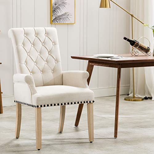 Linen Fabric Accent Upholstered Dining Chairs(Tan)