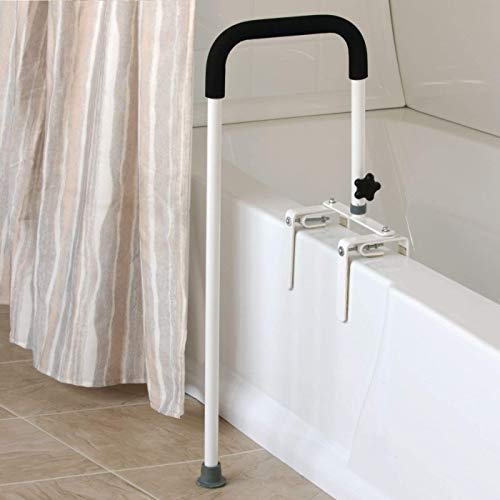 """Sammons Preston Floor to Tub Bath Rail, Curved Grab Bar with 200 lbs Capacity for Shower or Bathtub, Rail Clamps and Tightens to Tub Wall, Fits Most Modern Bathtubs, 34"""" from Floor to Tub"""