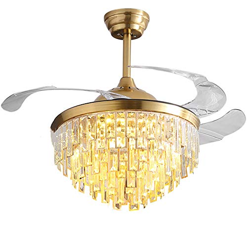 """Angry New 42""""Luxury Crystal Retractable Ceiling Fan with LED Lights and Remote-Controlled dimmable Chandelier for Living Room Bedroom Chandelier (Gold)"""