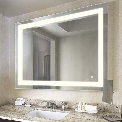 HAUSCHEN HOME LED Lighted Vanity Bathroom Mirror, Wall Mounted + Anti Fog & Dimmer Touch Switch + UL Listed + IP44 Waterproof + 3000K Warm + CRI>90 + Vertical&Horizontal