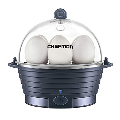 Chefman Electric Egg Cooker Boiler, Rapid Egg-Maker & Poacher, Food & Vegetable Steamer, Quickly Makes 6 Eggs, Hard, Medium or Soft Boiled, Poaching/Omelet Tray Included, BPA-Free, Midnight Blue