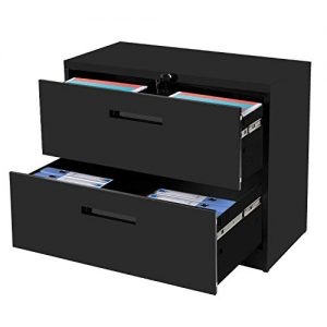 "2-Drawer Lateral File Cabinet Black Lockable Heavy Duty Metal File Cabinet with 2 Drawers Black 35.4"" L ×17.7W ×28.4"" H…"