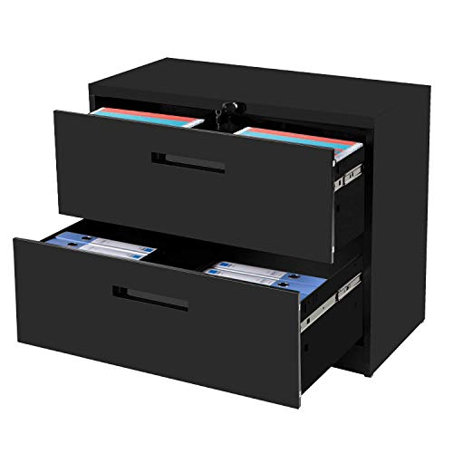 """2-Drawer Lateral File Cabinet Black Lockable Heavy Duty Metal File Cabinet with 2 Drawers Black 35.4"""" L ×17.7W ×28.4"""" H…"""