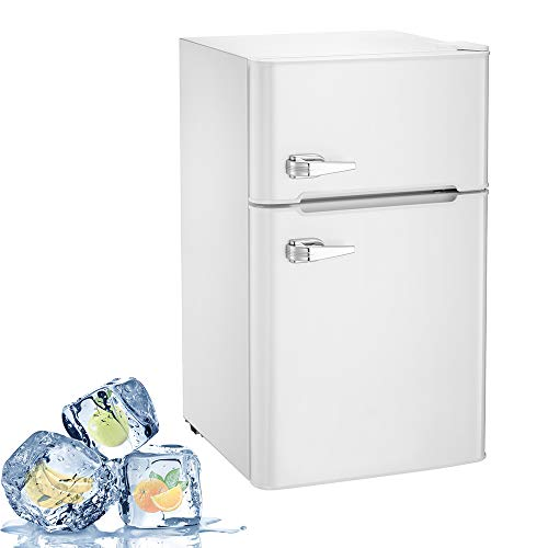 Joy Pebble Compact Double Door Refrigerator and Freezer, 3.2 cu.ft Freestanding mini Fridge Suitable for Office, Dorm or Apartment with Adjustable Removable Glass Shelves (white)