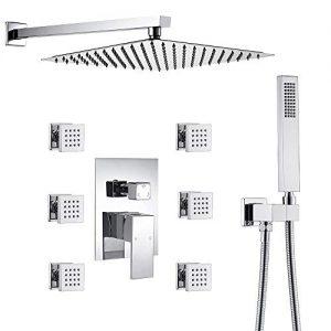 Luxury Bathroom 12 Inch Rainfall Shower Head System All Metal Complete Kit, Polished Chrome
