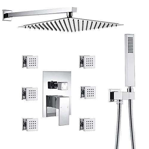 Luxury Bathroom 12 Inch Rainfall Shower Head System All Metal Complete Kit, Polished Chrome