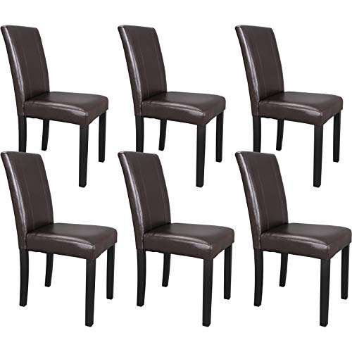 ZENY Leather Dining Chairs with Solid Wood Legs Chair Urban Style, Set of 6