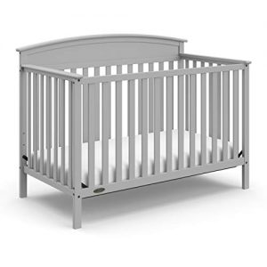 Graco Benton 4-in-1 Convertible Crib (Pebble Gray) – Easily Converts to Toddler Bed, Daybed or Full-Size Bed with Headboard, 3-Position Adjustable Mattress Support Base