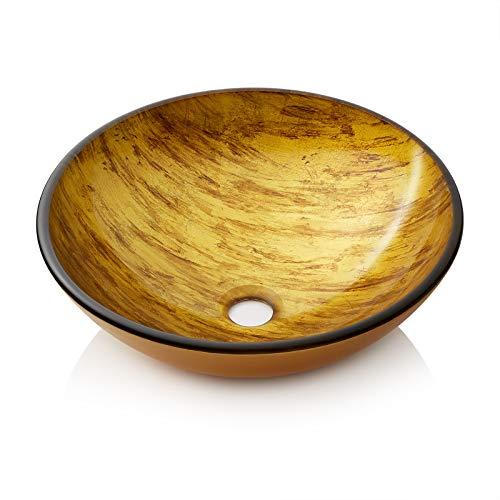 Miligore Modern Glass Vessel Sink - Above Counter Bathroom Vanity Basin Bowl - Round Gold