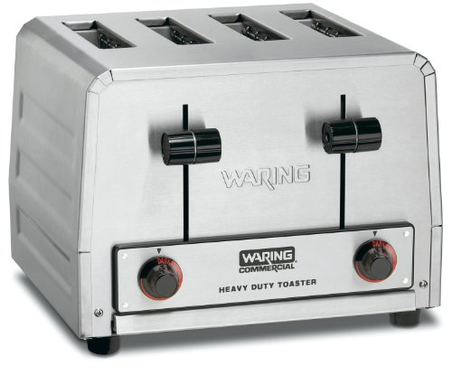 Waring Commercial WCT800RC Heavy Duty Stainless Steel Standard Toaster with 4 Slots, 15-Amp