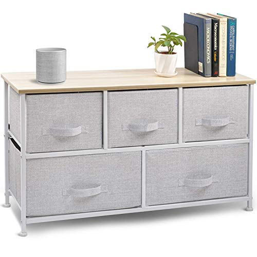 CERBIOR Wide Drawer Dresser Storage Organizer 5-Drawer Closet Shelves, Sturdy Steel Frame Wood Top with Easy Pull Fabric Bins for Clothing, Blankets- Grey