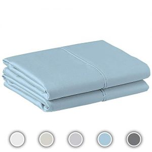COZERI 600 Thread Count Pillowcase Set of 2, 100% Long-Staple Combed Cotton, Breathable, Soft Sateen Weave Luxury Hotel Quality Pillow Cases (Standard, Celestial Blue).