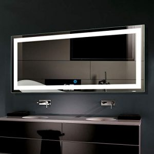 D-HYH Smart Bathroom Mirror, LED Mirror Lights for Vanity Wireless, Wall Mounted Bathroom Mirrors for Shower, Lagre Bathroom Mirror for Wall with Light 60 x 28 in D-CK010-C