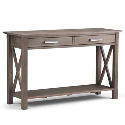 Simpli Home Kitchener SOLID WOOD 47 inch Wide Contemporary Modern Console Sofa Entryway Table in Distressed Grey with Storage, 2 Drawers and 1 Shelf, for the Living Room, Entryway and Bedroom