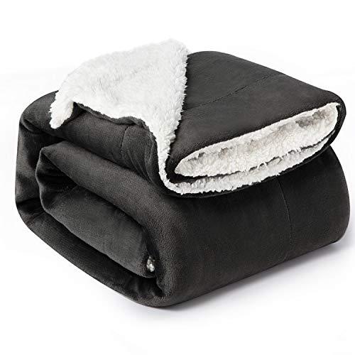 Bedsure Sherpa Fleece Blanket Twin Size Dark Grey Plush Blanket Fuzzy Soft Blanket Microfiber