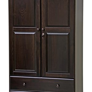 "100% Solid Wood Smart Wardrobe/Armoire/Closet by Palace Imports, Java Color, 40"" W x 72"" H x 21"" D, 1 Clothing Rods, 1 Lock, 2 Drawers Included"