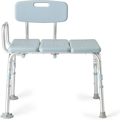 Medline Tub Transfer Bench With Microban Antimicrobial Protection, for Use as A Shower Bench or Bath Seat, Blue