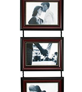 kieragrace Horizontal Lucy Collage Picture Frames on Hanging Ribbon (Set of 3), 5 x 7 Inch, Dark Brown with Gold Beading