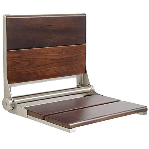 Lifeline Walnut Folding Shower Seat - Wall Mounted Wood Bench/Bathroom Safety & Mobility Aid/Easy to Fold Down/Seniors & Disabled/ADA Compliant/304 Stainless Steel/Stainless Steel Frame/18 x 16 inch