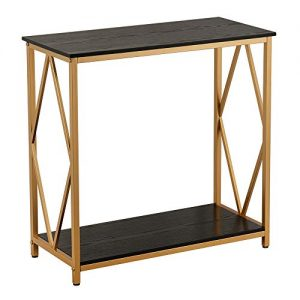 "GHQME Industrial Console Table,Sofa Table with Storage Shelf,Side Table and Entryway Table,Living Room,Hallway,Entryway,Easy Assembly and Metal Frame (30.7"" x 13.7"" x 29.9"", Diamond Shaped-Black)"