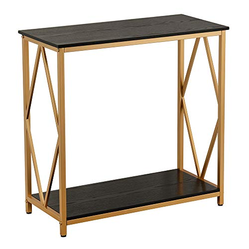 """GHQME Industrial Console Table,Sofa Table with Storage Shelf,Side Table and Entryway Table,Living Room,Hallway,Entryway,Easy Assembly and Metal Frame (30.7"""" x 13.7"""" x 29.9"""", Diamond Shaped-Black)"""