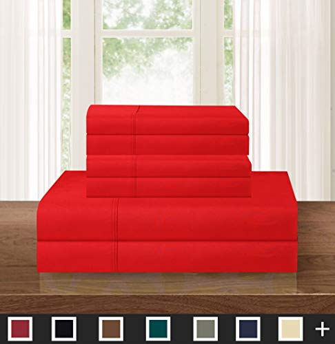 Elegant Comfort Luxurious Soft 1500 Thread Count Egyptian 6-Piece Premium Hotel Quality Wrinkle and Fade Resistant Coziest Bedding Set, Full, Red