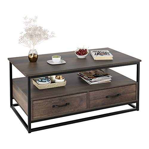 "HOMECHO Industrial Coffee Table 43"", Wood and Metal Cocktail Table with Storage Shelf and 2 Drawers for Living Room, Rustic Brown"
